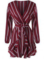Plunging Neckline Belted Stripe Faux Wrap Dress -