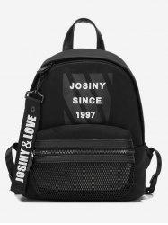 Letter Mesh Pocket School Backpack -