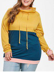 Color Block Plus Size Tunic Sweatshirt -