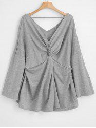 Plus Size Twist Front Flare Sleeve T-shirt -