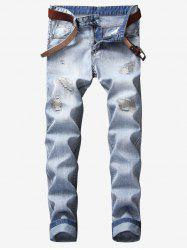 Ripped Stitching Reattached Patch Jeans -