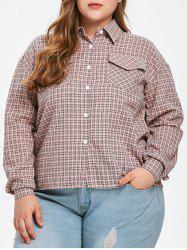Flounce Trim Plus Size Gingham Shirt -