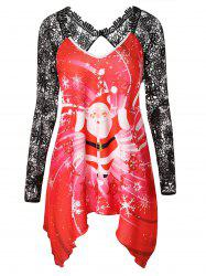 Christmas Plus Size Santa Claus Print Asymmetrical T-shirt -