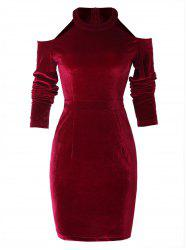 Cold Shoulder Velvet Sheath Dress -