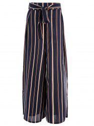 Belted Striped Slit Wide Leg Pants -