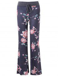 Drawstring Wide Leg Floral Print Pants -