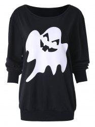 Halloween Ghost Print Drop Shoulder Sweatshirt -