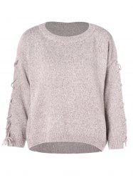 Lace Up Crew Neck Pullover Sweater -