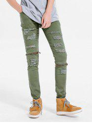 Zippper Embellished Skinny Ripped Jeans -