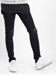 Zipper Fly Destructed Skinny Jeans -