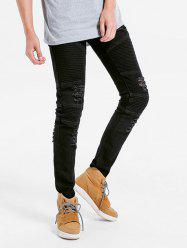 Elastic Pleated Skinny Ripped Jeans -