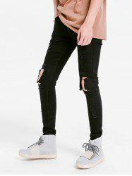 Solid Color Skinny Ripped Jeans -
