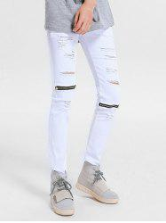 Zipper Embellished Skinny Ripped Jeans -