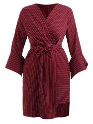 Plus Size Flare Sleeve Stripe Surplice Dress -