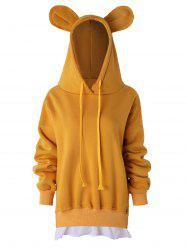 Drawstring Bear Ears Fleece Hoodie -