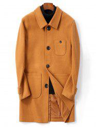Manteau Fendu au Dos avec Simple Boutonnage en Laine - Orange Tigre XS