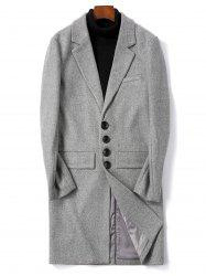 Solid Color Single Breasted Flap Pocket Woolen Coat -