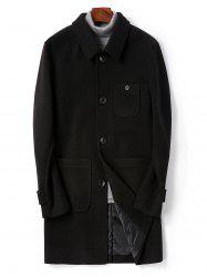 Single Breasted Back Split Woolen Coat -