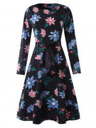 Belted Flower Polka Dot Sewing Dress -