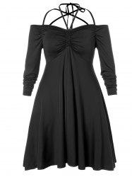 Plus Size Strappy Empire Waist Ruched Dress -