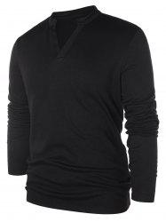 Solid Notch Neck Pullover Sweater -