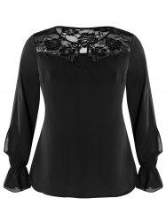 Plus Size Keyhole Lace Panel Top -