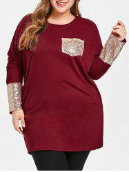 Plus Size Sequins Long Sleeve T-shirt -