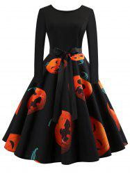 Halloween Pumpkin Print Flare Dress -