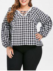 Plus Size Lace Up Plaid Blouse -
