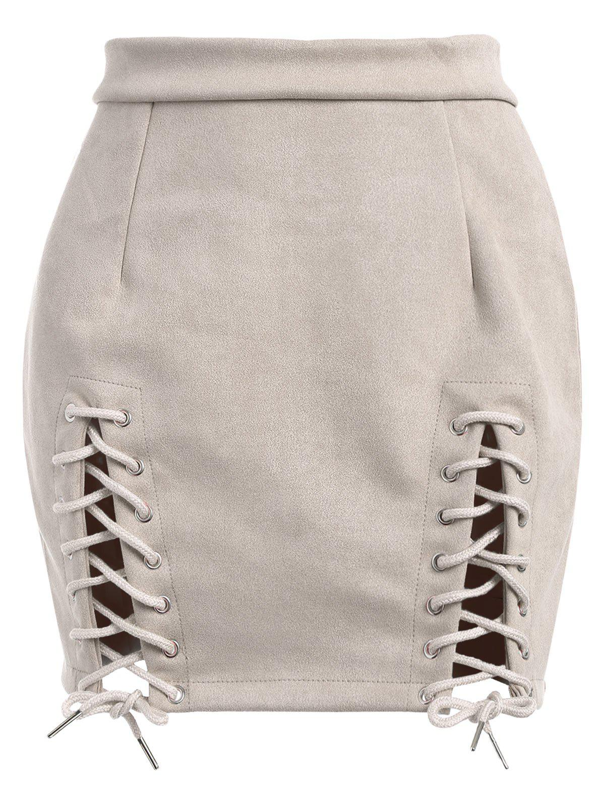 Best Lace Up Faux Suede Mini Skirt