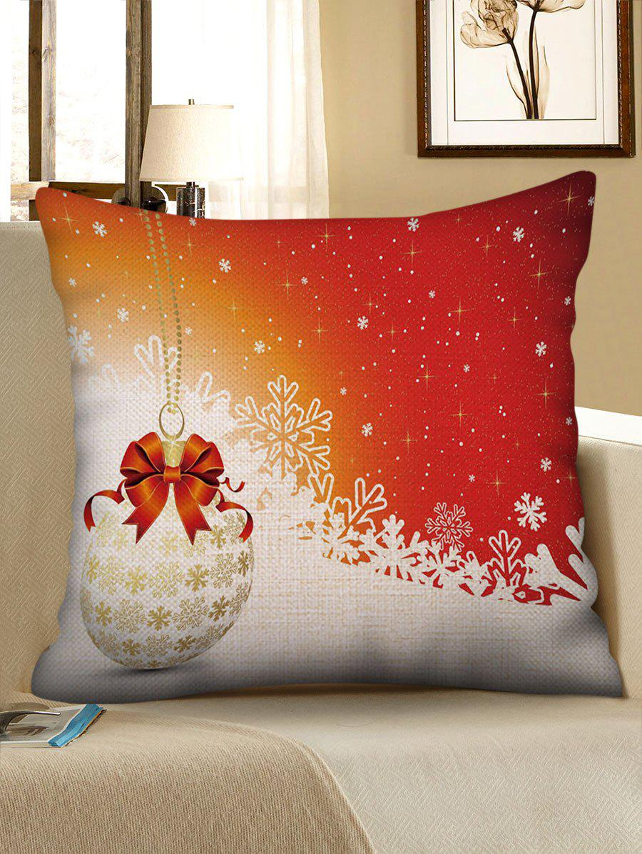 Online Bauble and Snowflakes Print Christmas Pillow Case