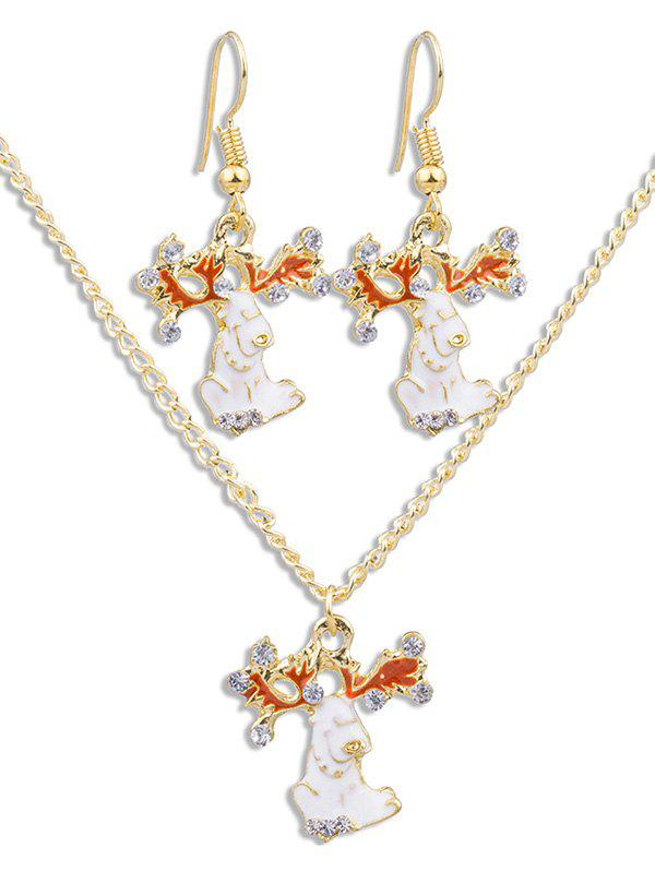 Trendy Rhinestone Animal Pendant Necklace Earrings Set