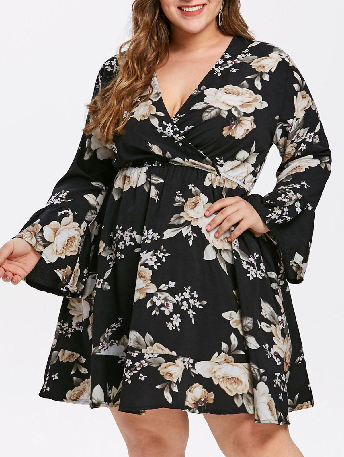 Trendy Flare Sleeve Plus Size Floral Dress