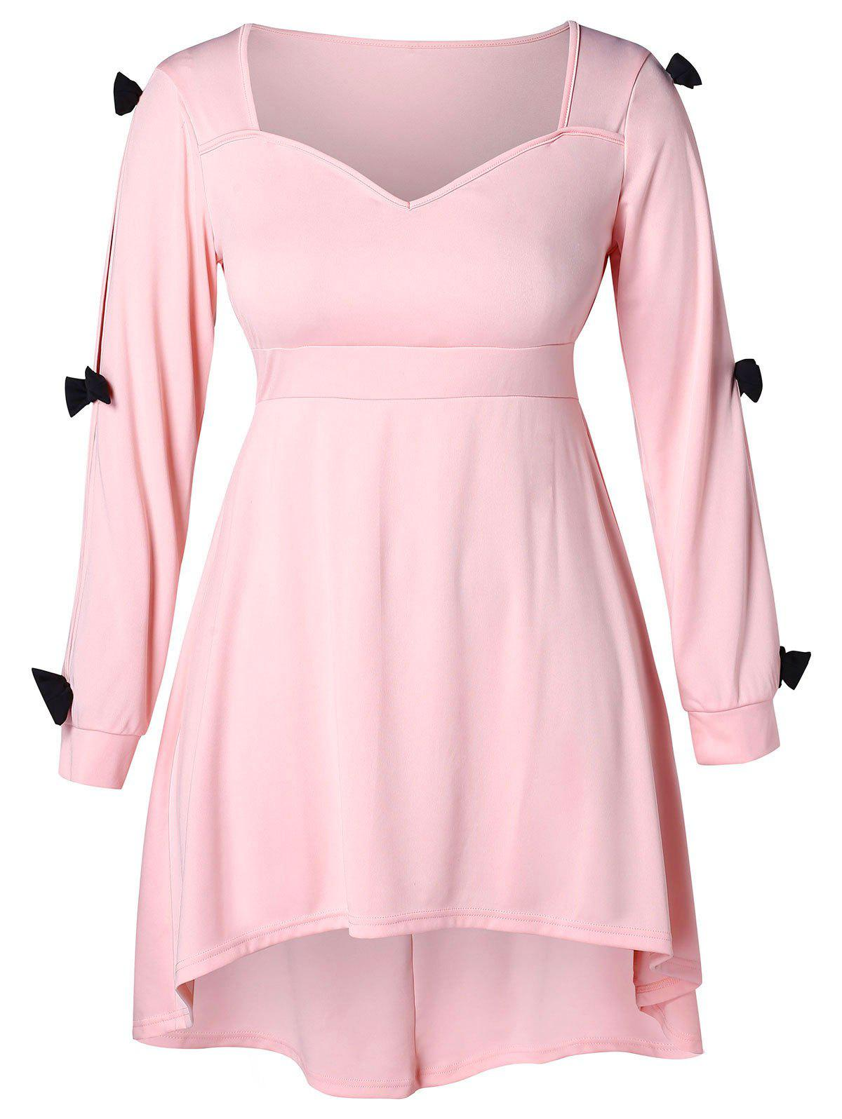 Buy Bowknot Embellished Plus Size A Line Dress