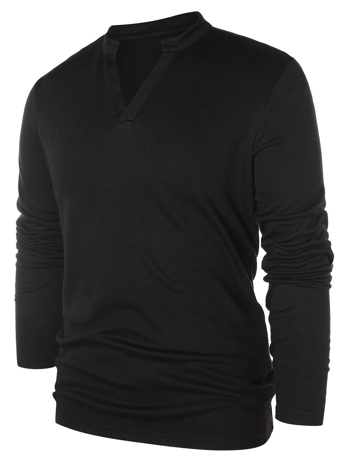 Affordable Solid Notch Neck Pullover Sweater