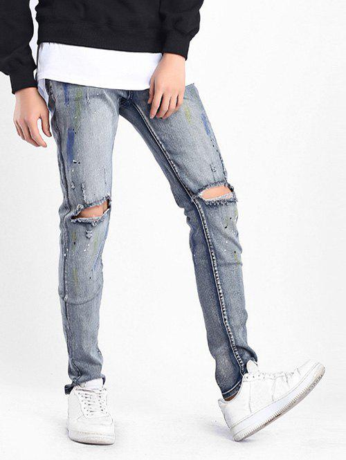 Discount Colored Drawing Stretchy Destroyed Hole Jeans