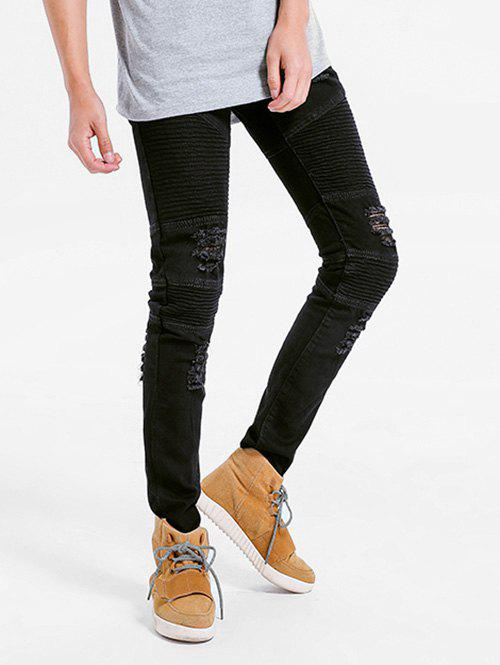 Affordable Elastic Pleated Skinny Ripped Jeans
