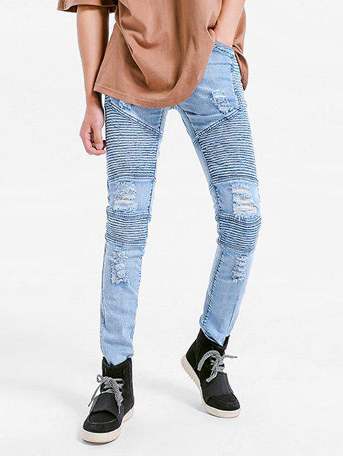 Unique Elastic Pleated Skinny Ripped Jeans