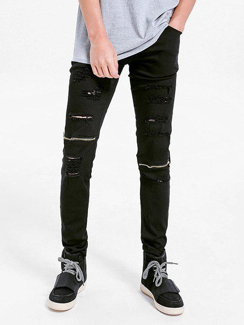 New Zipper Embellished Skinny Ripped Jeans