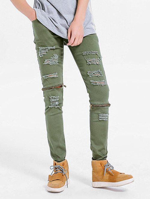 Hot Zipper Embellished Skinny Ripped Jeans