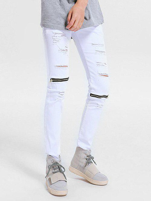 Shop Zippper Embellished Skinny Ripped Jeans