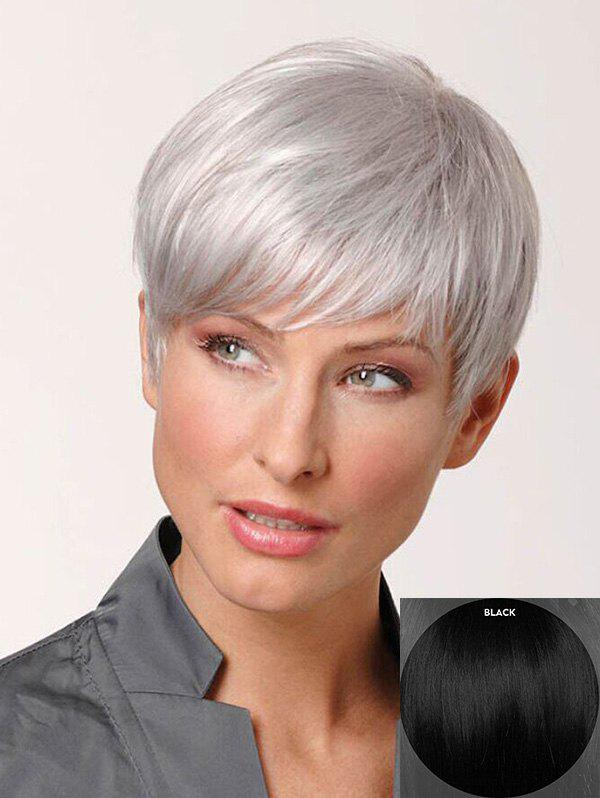 New Short Inclined Fringe Straight Pixie Human Hair Wig