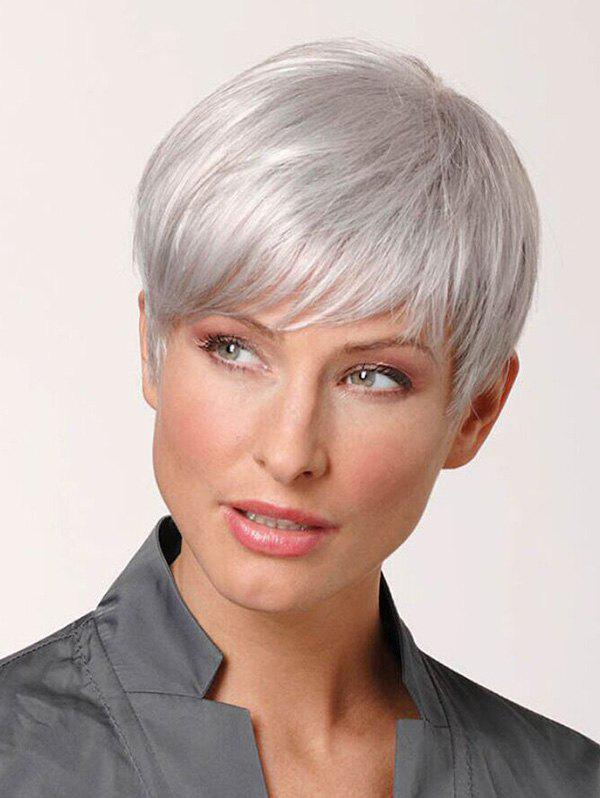 Affordable Short Inclined Fringe Straight Pixie Human Hair Wig 5d4d1b523e0e