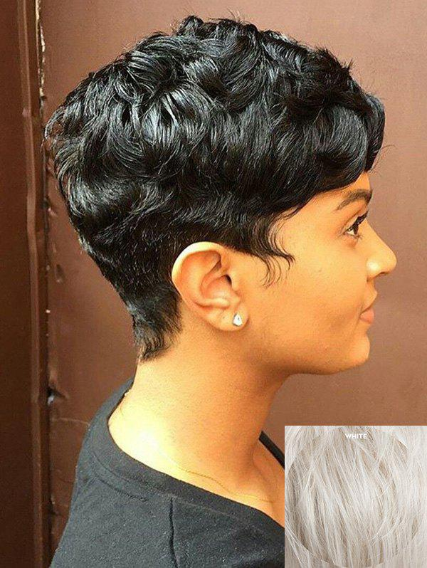 Shops Short Side Bang Layered Slightly Curly Capless Human Hair Wig