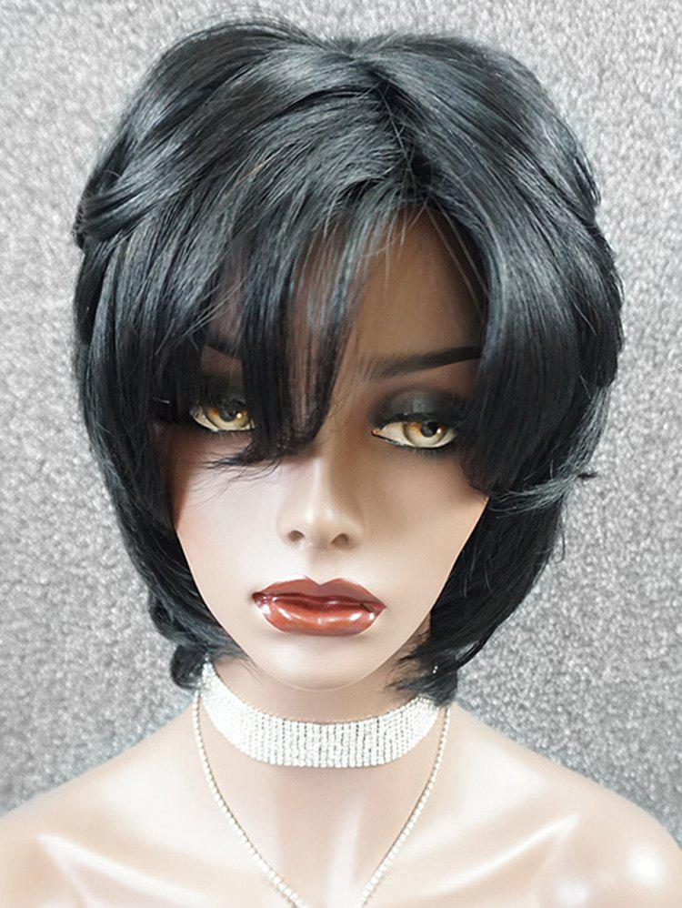 Trendy Short Side Bang Layer Straight Human Hair Lace Front Wig