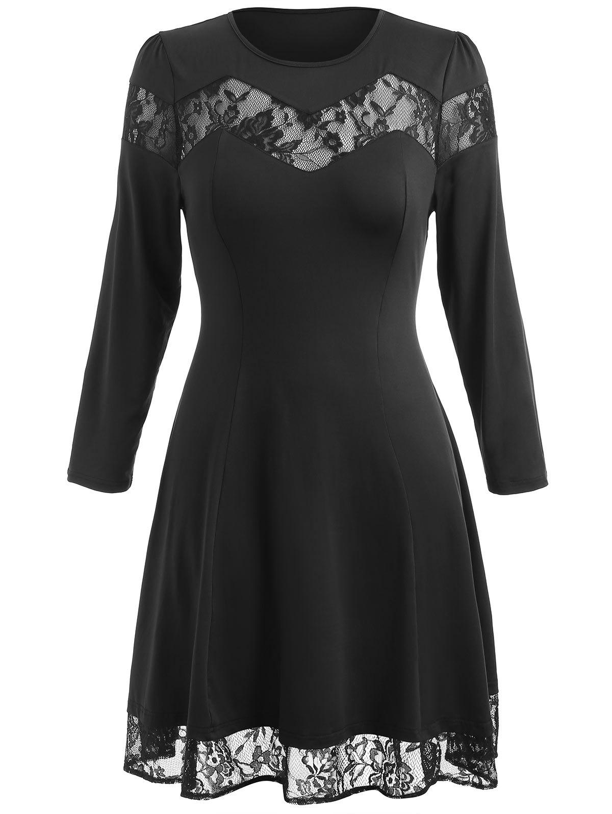 Hot Plus Size Lace Panel Long Sleeve Dress