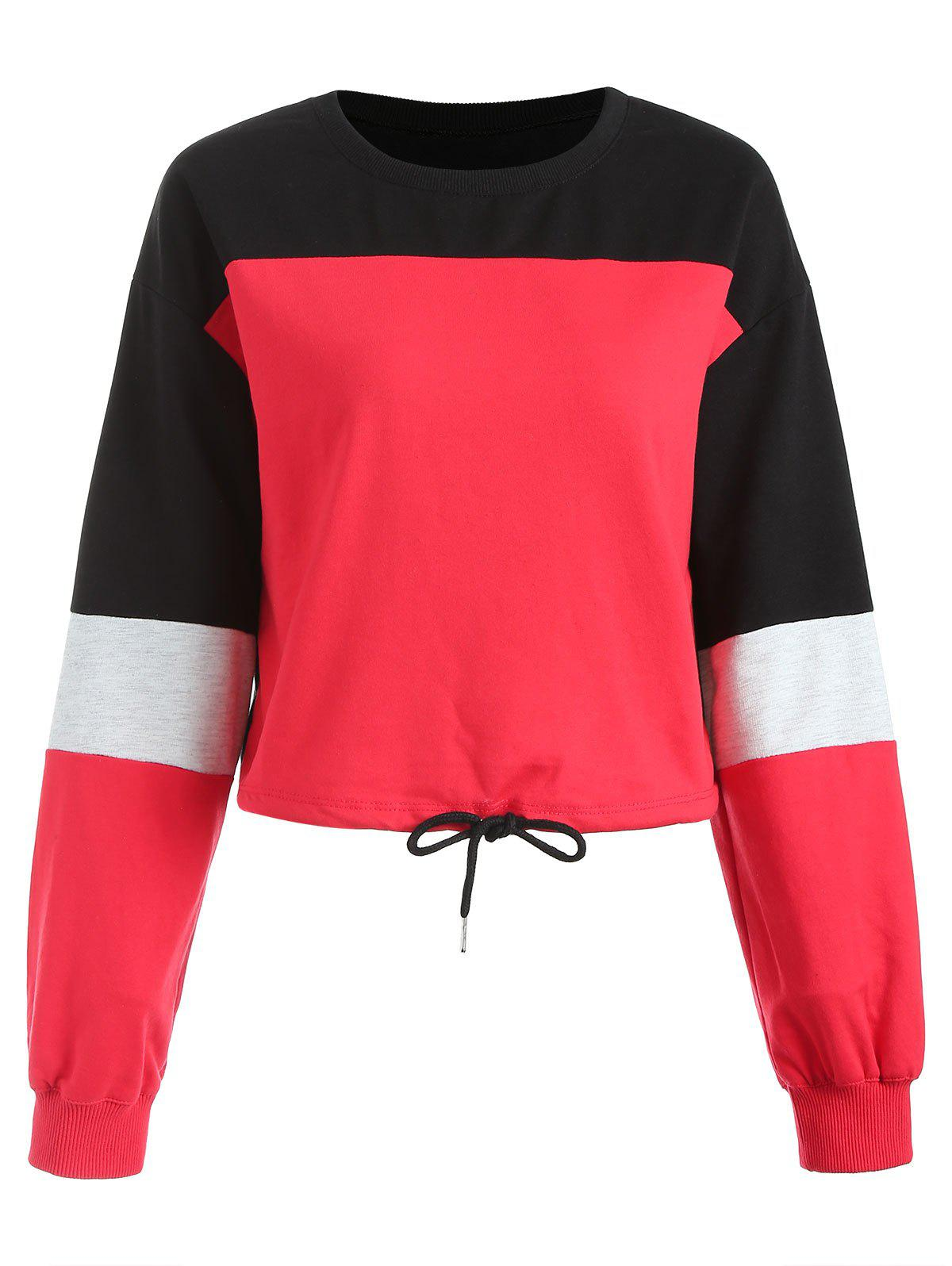 Outfits Contrast Color Drawstring Sweatshirt