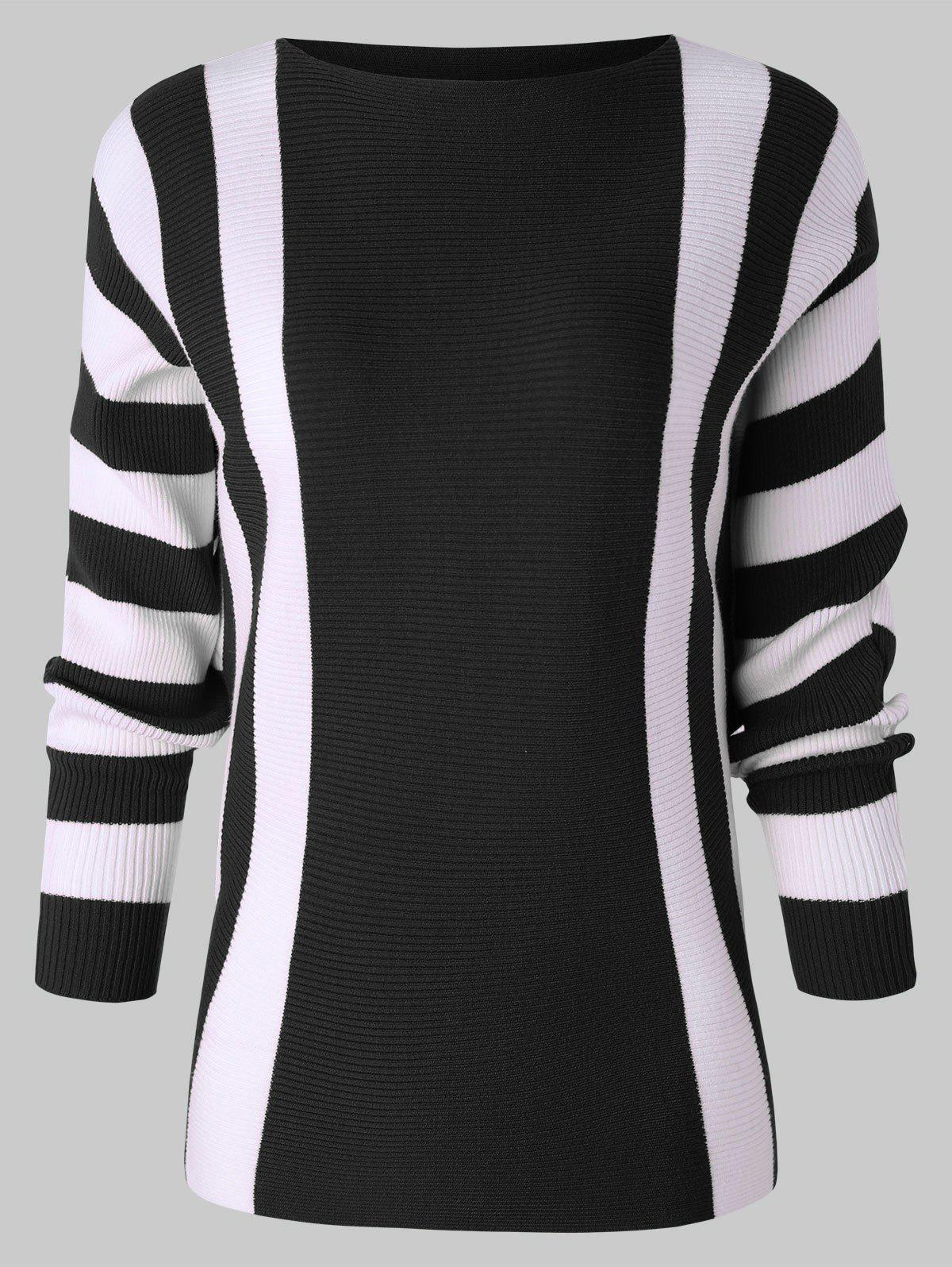 Buy Ribbed Batwing Sleeve Striped Sweater