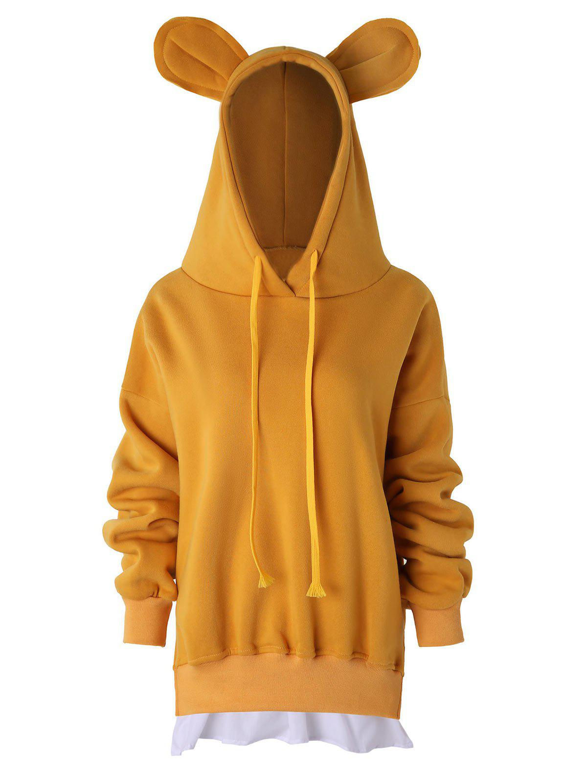 Shops Drawstring Bear Ears Fleece Hoodie