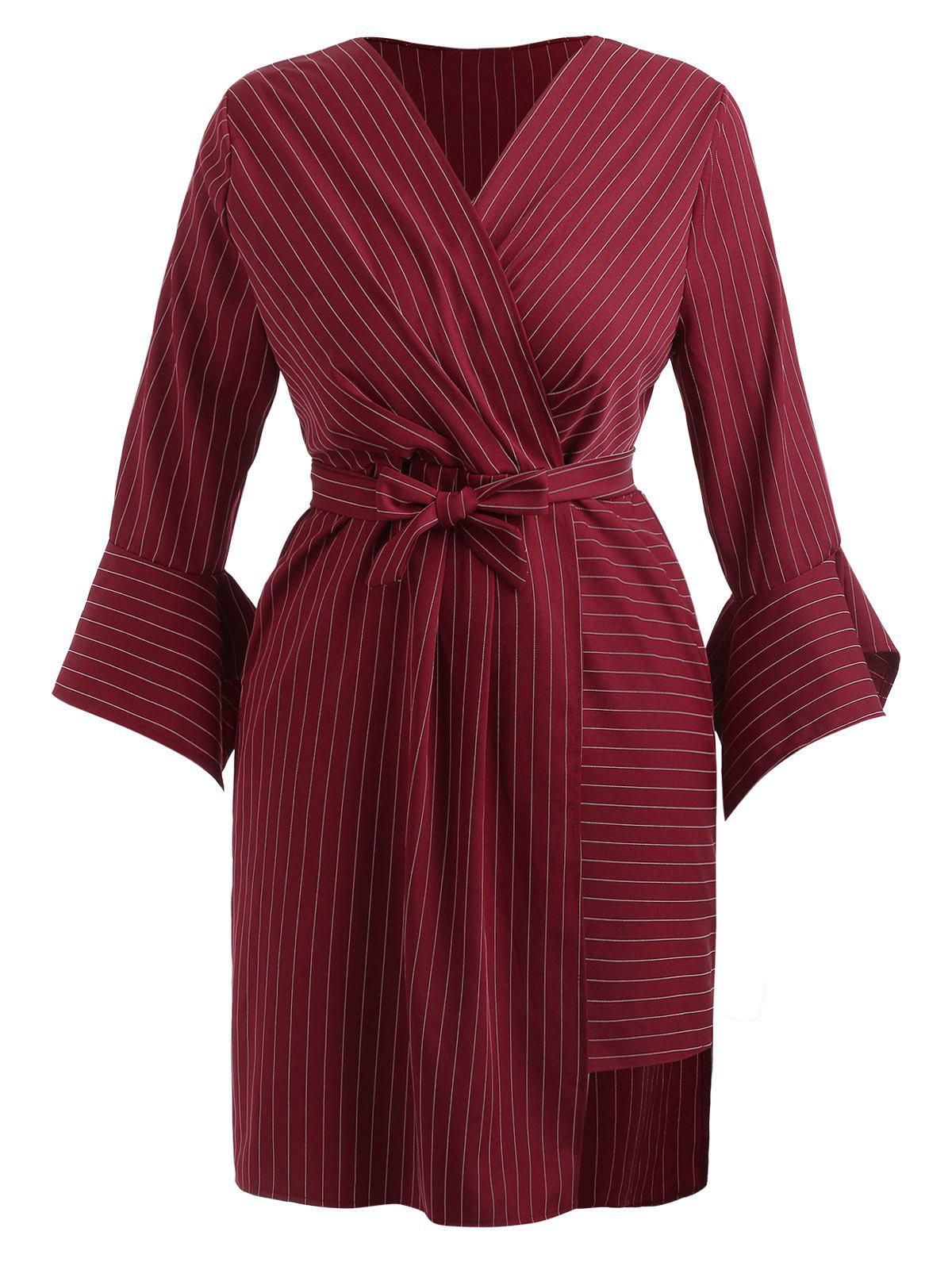 Sale Plus Size Flare Sleeve Stripe Surplice Dress